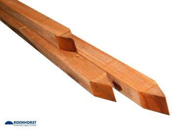 Palen 68 x 68 hardhout geschaafd met 4 ronde hoeken diverse lengtes